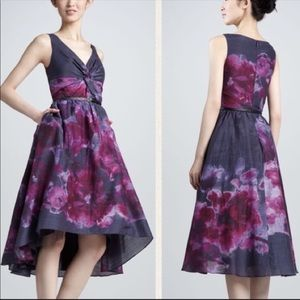Lela Rose Purple Floral Watercolor Dress w/ Belt